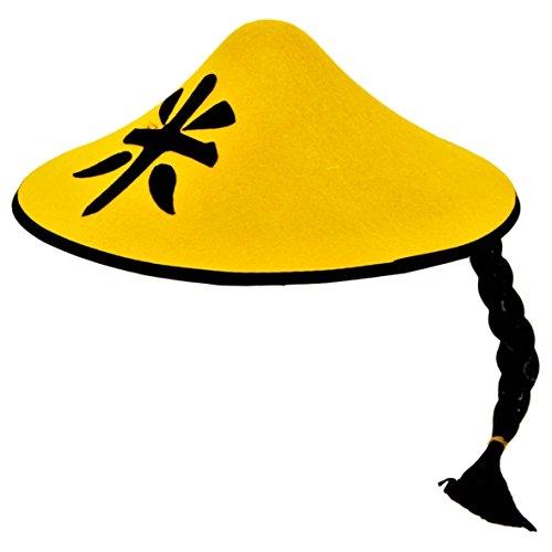 Folat China Party-Hut mit Zopf Karnevalshut gelb-schwarz Einheitsgröße