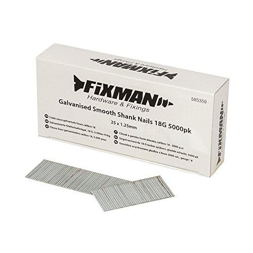 Fixman chiodi a gambo liscio zincato, 18G, argento, 585359