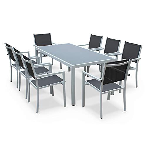 Alice's Garden Comedor de Jardin, Conjunto de Mesa y sillas de Aluminio y textileno - Blanco/Gris - 8 plazas - CAPUA 180