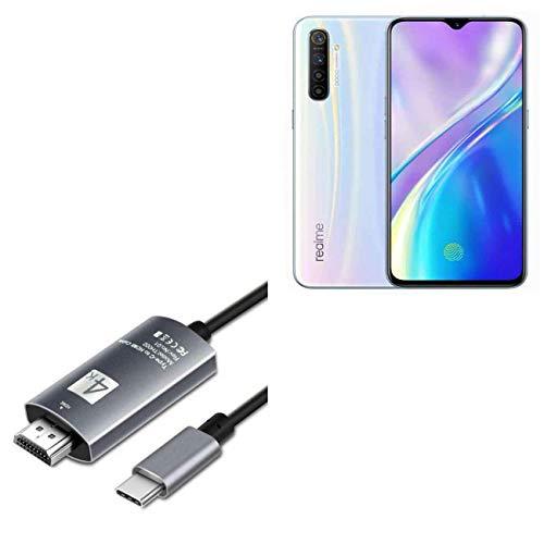Cabo Realme X2 Pro, BoxWave [cabo SmartDisplay - USB tipo-C para HDMI (1,8 m)] Cabo USB C/HDMI para Realme X2 Pro - Preto