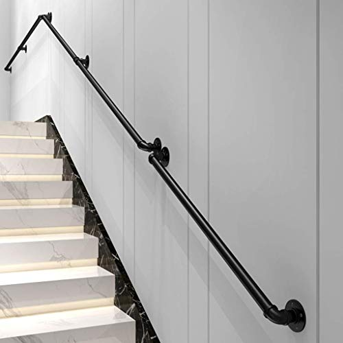 4ft Stair Handrail, Black Wrought Iron Galvanized Pipe, Indoor and Outdoor Step Railings,Corridor Old Man Anti-Skid Handrail, Safety Door Handle, Bathroom Handle