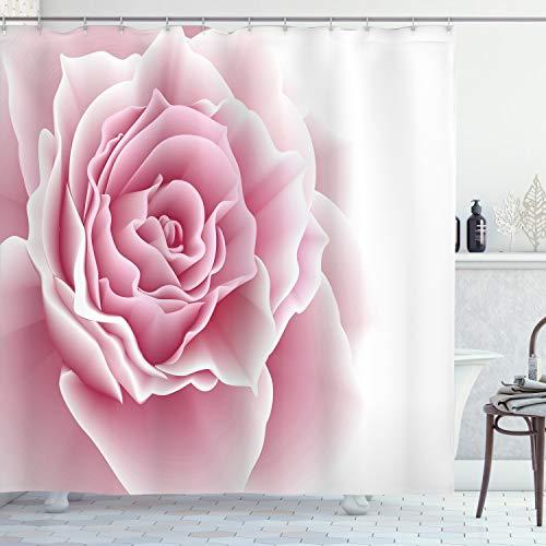 ABAKUHAUS Blasses Rosa Duschvorhang, Romantisches Bouquet, Moderner Digitaldruck mit 12 Haken auf Stoff Wasser & Bakterie Resistent, 175 x 200 cm, Hellrosa weiß