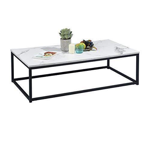 MEUBLE COSY Table Basse Carré MARBRE - Décor MARBRE et Noir - Structure en Métal,Style Industriel,L 80 x P 80 x H 34 cm table basse design moderne, marbre 2 /110 x 60 x 34 cm