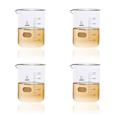 KENZIUM - Pack 4 x Vasos de Precipitados, de 500 ml | Vidrio Borosilicato 3.3, Forma Baja, Graduados, de Cristal con Boquilla, Para Líquidos, Alta Resistencia, Autoclavables, Vasos Medidores