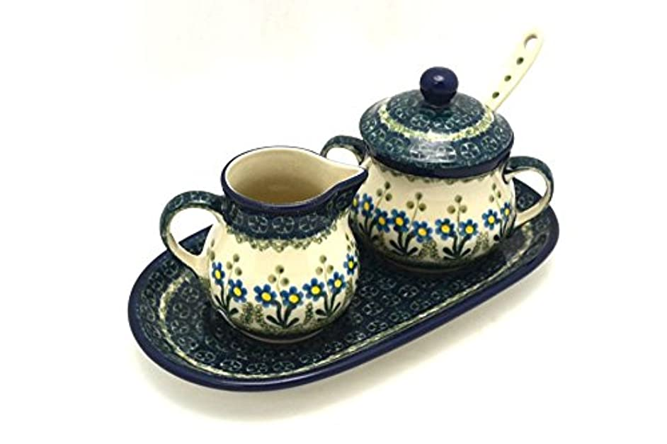 Polish Pottery Cream & Sugar Set with Sugar Spoon - Blue Spring Daisy