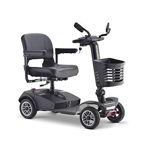 Elektrische reisstep met 4 wielen voor volwassenen, oudere mobility scooter, 300 W, 8 km/h, 45 cm zitbreedte, zwart