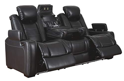 Signature Design by Ashley - Party Time Contemporary Faux Leather Power Reclining Sofa - LED Lighting - Black