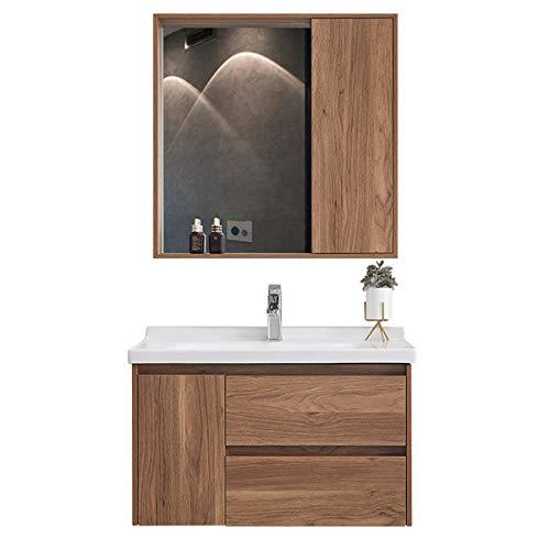 Modern Bathroom Gabinete Combinación Montado en la Pared Espejo Mueble Cuenca de vanidad Fregadero de cerámica con gabinete de Medicina. (Color : Brown, Size : 50x60x45cm)
