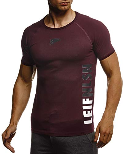 Leif Nelson Gym Herren Fitness T-Shirt Slim Fit Moderner Männer Bodybuilder Trainingsshirt Kurzarm Top Herren Sport T-Shirt Bekleidung für Bodybuilding Training LN06279 Bordeaux-Schwarz Medium