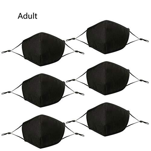 [ Abdeckung ] Gesicht Oder Mund, 6 Stk Kinder Erwachsene Schwarz Einstellbar Staubdicht 4 Schicht Baumwolle Waschbar Wiederverwendbar Draussen Unisex