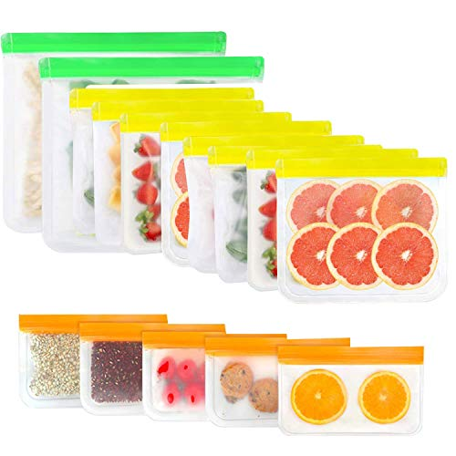 15 Pack Food Storage Bags, Reusable BPA FREE Freezer Bags for meat, fruits and vegetables (2 Gallon Bags + 8 Sandwich Bags + 5 Snack Bags)