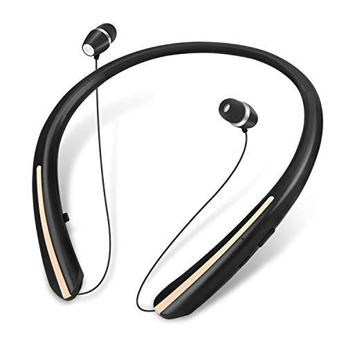 Bluetooth Headphones, Retractable Earbuds Wireless Headset Neckband Sports Noise Cancelling Stereo Earphones with Mic (Black Gold)