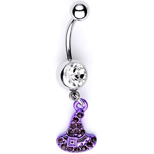 Body Candy 14G 316L Steel Purple Witch Hat Dangle Belly Button Ring