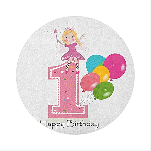 """Office Chair Mat, Princess Fairy Party Theme with Best Wishes Pink Wand and Balloons, 35"""" Round Chair mats for Carpeted Floors, Pale Pink and Lilac"""