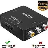 HDMI zu RCA, 1080p HDMI zu AV 3RCA CVBs Composite Video Audio Konverter Adapter unterstützt PAL/NTSC für TV Stick, Roku, Chromecast, Apple TV, PC, Laptop, Xbox, HDTV, DVD-Schwarz