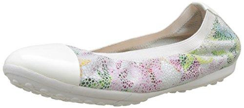 Geox Mädchen JR Piuma Ballerine A Geschlossene Ballerinas, Mehrfarbig (Off White/Multicolor), 34 EU