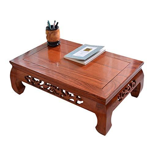 Tische Kaffeetische Antiker Couchtisch Balkon Erker Tatami Teetisch Büro Couchtisch Home Massivholz Beistelltische (Color : A, Size : 60 * 40 * 25cm)