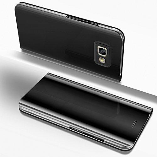 Ysimee Coque Samsung Galaxy A3 2017, Étui Folio à Rabat Clear View Case Couleur Unie Translucide Miroir Housse en PC Fonction Support Ultra Mince Flip Portefeuille Coque pour Galaxy A3 2017, Noir