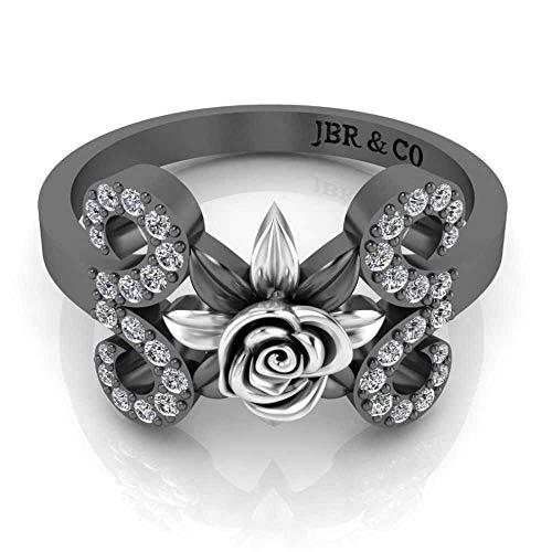 Jbr - Anillo de plata de ley con diseño floral de dos tonos para boda o aniversario