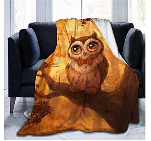 Chickwin Flanelldecke Kuscheldecke, 3D Tier Drucken Super Soft Weiche Wohndecke Warm Flauschige Decke TV-Decke Mikrofaserdecke Sofadecke oder Bettüberwurf Tagesdecke (Eule,150x200cm)