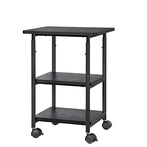 VASAGLE Industrial Printer Stand, 3-Tier Machine Cart with Wheels and Adjustable Table Top, Heavy Duty Storage Rack for Office and Home, Black UOPS03B
