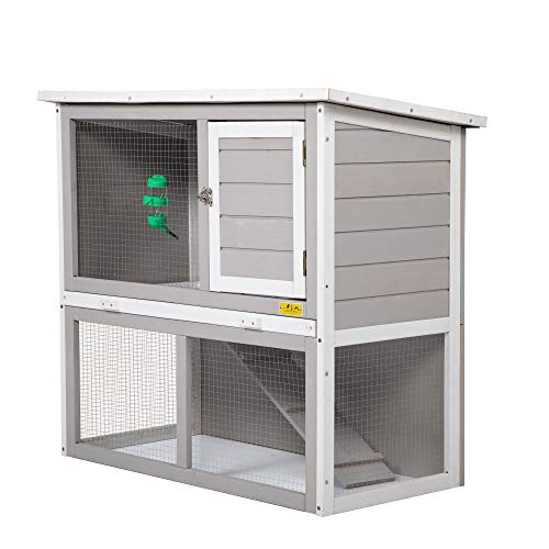 Large Rabbit Hutch Indoor Outdoor for Multiple Rabbits, Wooden Bunny Run Cage, Small Animal Pens Hutches Cat Kitten Enclosure