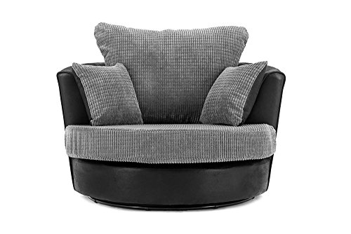 Abakus Direct | Dino Jumbo Cord Sofa in Black & Grey (Swivel Chair)