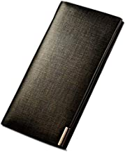 Large bronze business multi-card slim leather wallet, men's scrub leather wallet, size 18cmx1.2cmx9.5cm