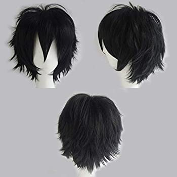 S-noilite Cosplay Wig Short Unisex Anime Wig Fluffy Hair Wig Japanese Anime Wig Comic Hairstyles With Layered Bang For Halloween Cosplay Party Costume Full Synthetic Wigs  #Black