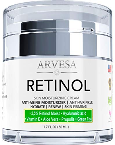 Anti Aging Retinol Moisturizer Cream for Face, Neck & Décolleté - Made in Usa - Wrinkle Cream for Women and Men with Hyaluronic Acid and Active Retinol 2.5% - Day and Night - Results in 4 Weeks