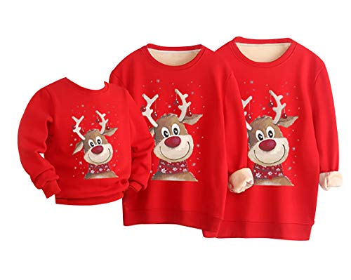 Felpe Famiglia Natale Felpe Natalizie Famiglia Felpa Natalizia Famiglia Pullover Natalizio Famiglia Maglioni Natalizi Famiglia Felpa 3D Natale Donna Uomo Renna Renne Brutti Divertenti Adulto Rosso 3XL