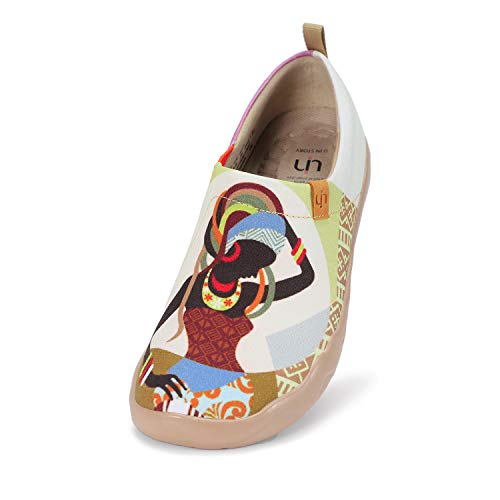 UIN Slip-On para Mujeres Mocasines de Cuero Zapatos Planos para Mujer Cómodo Mocasines Vintage Patrón Al Aire Libre Casual Zapatos para Caminar Monada 42