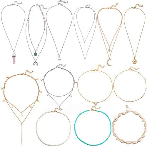 13 Pcs Fashion Teen Layered Necklaces Jewelry for Girls Women Gold Silver Sexy Adjustable Beaded product image