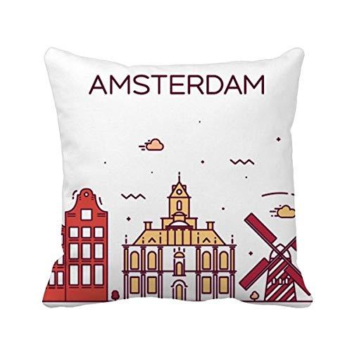 DIYthinker Amsterdam plat oriëntatiepunt vierkant gooien kussen invoegen kussen Cover Thuis bank Decor Gift