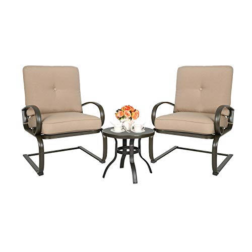 Ulax Furniture 3 Pcs Outdoor Bistro Set Patio Springs Action Chairs Conversation Set with Cushions (Beige)