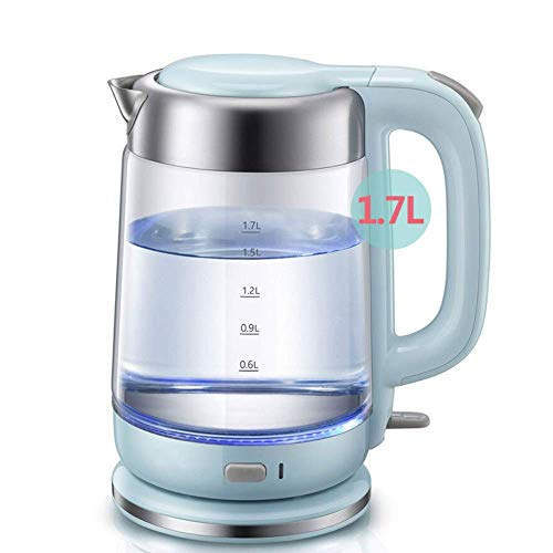 YVX Glass Electric Kettle 1.7l Eco Cordless Glass Kettle Fast Boiling Quiet Free Water Boiler Tea Kettle with Led Indicator, Auto Shut Off and Boil-Dry Protection, 1800w