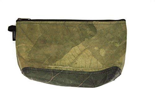 ECOMONKEY® ♻ Kulturtasche / Kulturbeutel + veganes Leder aus Blättern (Kunstleder) + leicht & wasserabweisend + Grün