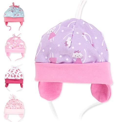 Baby Sweets Baby Mütze für Mädchen in Flieder als Erstlingsmütze im Katzen-Motiv/Babymütze für Neugeborene & Kleinkinder zum Binden in der Größe: 6 Monate (68)