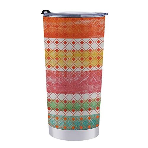 Taza de viaje de doble pared de acero inoxidable de 20 onzas con tapa a prueba de salpicaduras sin BPA, decoración bohemia de la selva bohemia, manta mexicana a rayas