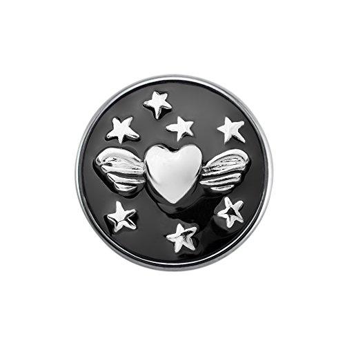 Quiges Damen Click Button 18mm Chunk Schwarze Herzen Ornament mit Stern für Druckknopf Zubehör