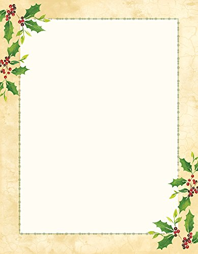 Great Papers! Falling Holly Imprintable Stationery, 8.5' x 11', Pack of 80 (2015049)
