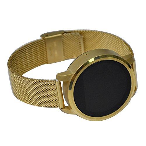 Smartwatch Armbanduhr, Schrittzähler, Heart Rate Monitor, Halterung Android, 1.22 Zoll runder Touchscreen, Fernbedienung, Armbänder Smartwatch, Golden
