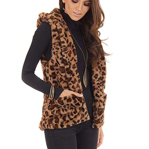 FRAUIT Leopard faux bont vest capuchon dames mouwloos wollen mantel met capuchon kunstbont lange vachtvest zonder mouwen winterjas parka bont mantel herfst winter tops