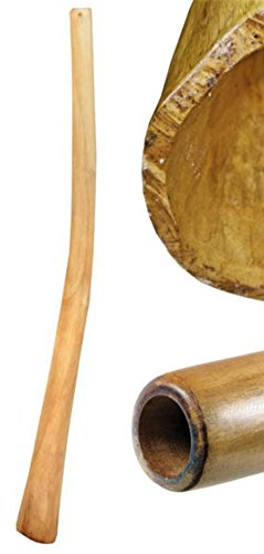 Teakwood didgeridoos are made of branch pieces and covered with a linseed oil finish in the inside and the outside They are perforated and similar in the sound to the eucalyptus instruments. They have a good counter - pressure and allow a complete pl...