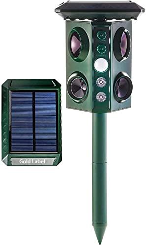 Potencia solar al aire libre impermeable repelente de animales solar y apoderado de batería, estacas repelentes con DIRIGIÓ Luces Y PIR Sensor Repeling Mole, Chipmunk, Gopher, Mapache, Conejo qnq0828