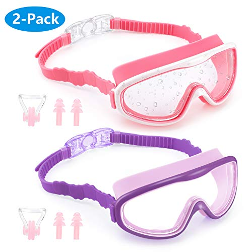 MOCIC Kids Swim Goggles, 2 Pack Swimming Goggles for Children and Early Teens (Ages 3-15), Anti-Fog UV Protection Waterproof Crystal Clear Wide Vision No Leaking Swim Glasses with Nose Clips Ear Plugs
