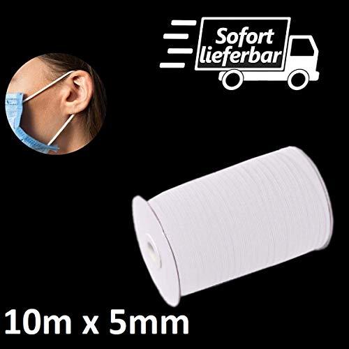 Kolor-Knajp 10 Meter Gummiband Weiß Gummilitze Wäscheband Gummizug Flachgummi Ideal für Masken 0,5 cm