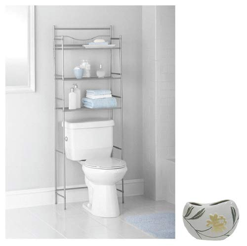 Mainstay 3-Shelf Toilet Space Saver with Liner, Satin Nickel with Toothbrush Holder