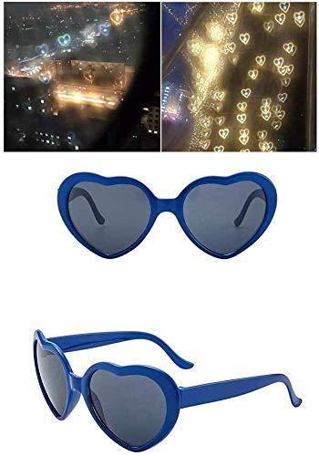 Mzthkly Gafas de Efectos de Amor en Forma de Corazón, Gafas de Difracción de Fuegos Artificiales de Corazones 3D, Gafas de Sol de Amor de Moda Nocturna, Juguete (Azul)