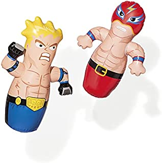 BATYCAB Intex Inflatable 3D Punching Bop Bag For Kids, Boxing Action Figures Inflating Blow Up Boxer and Wrestler Fun Toy ...